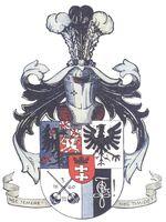 Das Große Corpswappen der Baltica-Borussia. Es zeigt im rechten oberen Feld den preußischen Adler mit den Initialen FR auf der Brust, im rechten unteren Feld die Corpsfarben blau-schwarz-weiß und den Zirkel, unten links zwei gekreuzte Korbschläger und das Gründungsdatum der Livonia, oben links (zweigeteilt) den halben deutschen Adler und die Wappen der russischen Ostseeprovinzen Kurland, Livland und Estland, sowie im Herzschild das Danziger Wappen