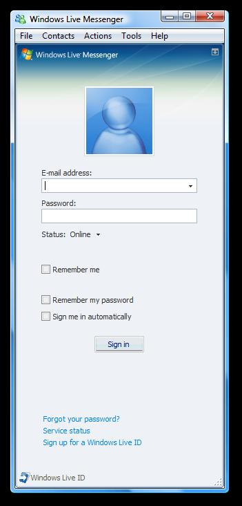Messenger in sign live windows Windows Live