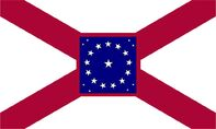 Alabama State Flag Proposal St Andrews Cross Concept with 22 Star Medallion Pattern Crimson Boarder Centered Designed By Stephen Richard Barlow 29 July 2014