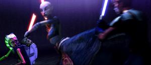 Asajj kicks Anakin