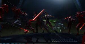 The Last Jedi throne room fight concept art