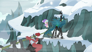 Cozy, Chrysalis, and Tirek reach the other side S9E8