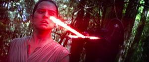 Rey on Kylo Ren's mercy