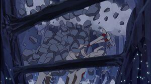 Kabuterimon vs. Okuwamon (Rocks are falling)