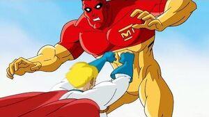 Power Girl vs Major Force - Fight Scene Superman Batman Public Enemies