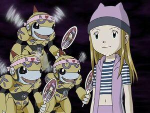 Zoe with her Honeybeemon fans (Ep. 26)