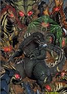 Godzilla surrounded by Trilopods