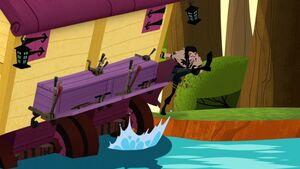 Hector kicks the caravan downstream