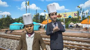 Baz and Bernie disguised as cooks