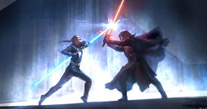 Rey and Kylo fight Duel of Fates