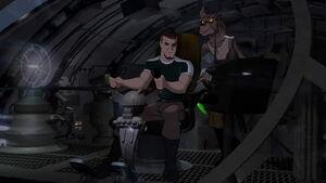 Korso piloting the ship with Preed