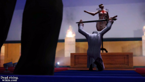 Sean lifting the Ceremonial Sword