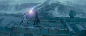 Kylo and Rey fight on th Death Star ruins