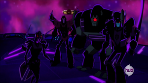 Starscream, Lugnut, Blitzwing and Blackarachnia