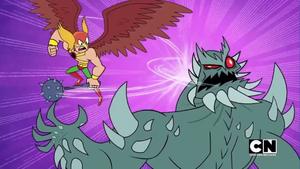 Hawkman Smacks Doomsday's Face