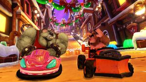 Koala Kong racing Rilla Roo on Gingerbread Joyride