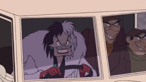 Cruella, Jasper and Horace grins with evil determination at the Dalmatians as they chased them