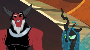 Tirek and Chrysalis raise eyebrows at each other S9E1