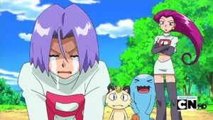 Jessie, Meowth, Wobbuffet and weeping James.