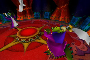 The opening cutscene to the Komodo Bros at the circus tent throwing swords one by one. Fight in Crash Bandicoot 2 Cortex Strikes Back
