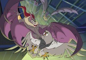 Goth and Throbb fighting Owl