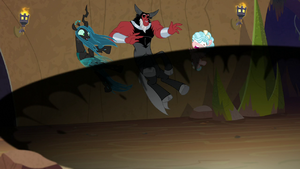Chrysalis, Tirek, and Cozy blown backward S9E8