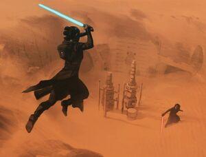 Rey and Kylo Ren duel on Tatooine - TROS concept art