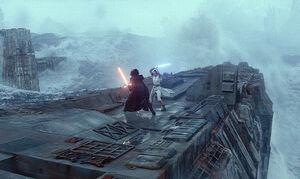 Rey vs. Kylo Death Star ruins
