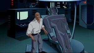 Lex Luthor and his AMAZO copied body