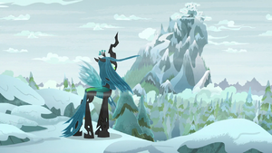 Chrysalis gazes out at the mountain S9E8