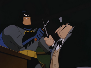 Penguin and Batman duel