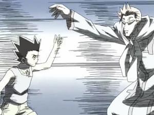 Gon deflects Genthru's attack