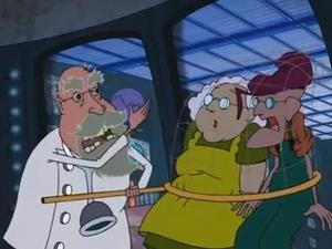 Cruel Vet explaining evil plan to Muriel and Eustace