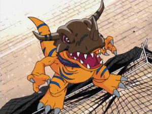 Evil Greymon as he enters the stadium