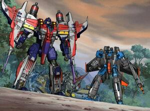 Starscream and Thundercracker grabbed the Autobots