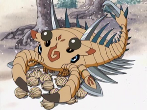 Scorpiomon with his food.