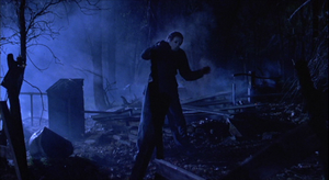 Michael Myers getting shot repeatedly by the police and a few other reinforcements