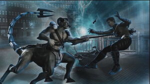 Raiden's vision of Motaro killing Johnny Cage.
