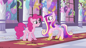 Pinkie Pie in front of Cadance S2E25
