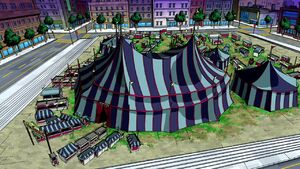 The Traveling Circus of Laughs' Circus Tent