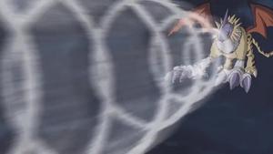 Gryphonmon attacks MetalGarurumon