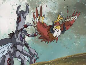 Okuwamon defeats Aquilamon