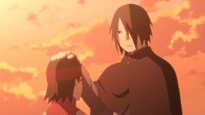 Sasuke pets Sarada's head