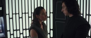 Rey and Kylo in the elevator