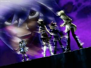Bakura traps Yugi and his friends minus Tristan in a duel