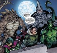 Savage Six (Kraven's) (Earth-616) ,Adrian Toomes (Earth-616) Vincent Stegron (Earth-616), Aleksei Sytsevich (Earth-616) ,Anton Miguel Rodriquez (Earth-616) and MacDonald Gargan (Earth-616) from Sinister War Vol 1 1 0001
