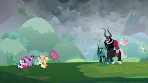 Villains giving Spike back as Tirek taunts the knocked down ponies