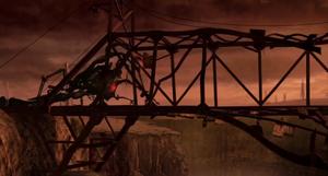 Fabrication Machine chasing the Stitchpunks in a bridge