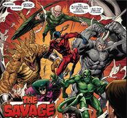 Savage Six (Kraven's) (Earth-616) ,Adrian Toomes (Earth-616) Vincent Stegron (Earth-616), Aleksei Sytsevich (Earth-616) ,Anton Miguel Rodriquez (Earth-616) and MacDonald Gargan (Earth-616) from Sinister War Vol 1 1 0002