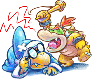 Kamek and Baby Bowser Artwork - Yoshi's New Island